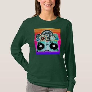 ビニール-ポップアートが付いているDJのターンテーブル Tシャツ