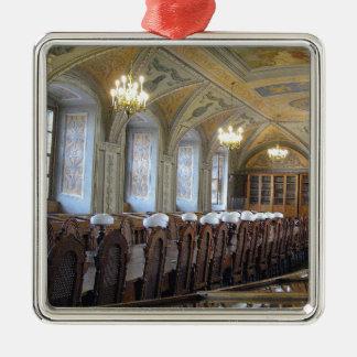 ビリニュスの大学図書館-リスアニア --- シルバーカラー正方形オーナメント