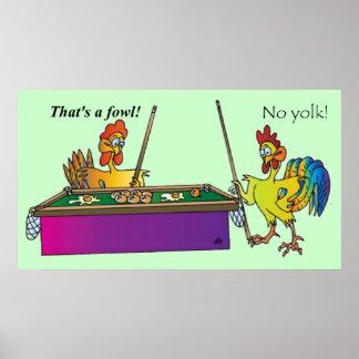 ビリヤードの鶏 ポスター