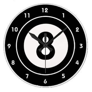ビリヤードの8ボールのデザインの柱時計 ラージ壁時計