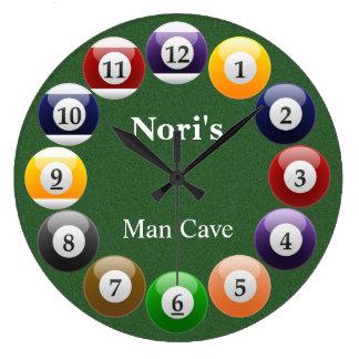 ビリヤードボールの光沢があるカラフルなプールのスヌーカーのスポーツ ラージ壁時計