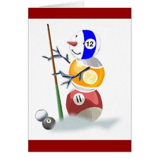 ビリヤードボールの雪だるまのクリスマス カード