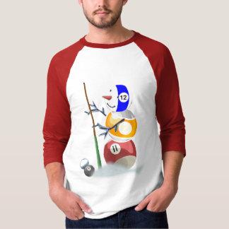 ビリヤードボールの雪だるまのクリスマス Tシャツ