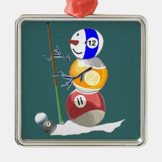ビリヤードボールの雪だるま メタルオーナメント
