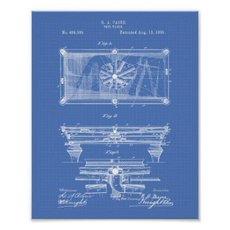 ビリヤード台1889のパテントの芸術の青写真 ポスター