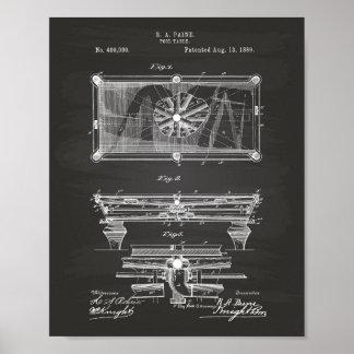 ビリヤード台1889のパテントの芸術の黒板 ポスター