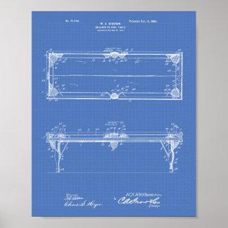 ビリヤード台1902のパテントの芸術-青写真 ポスター