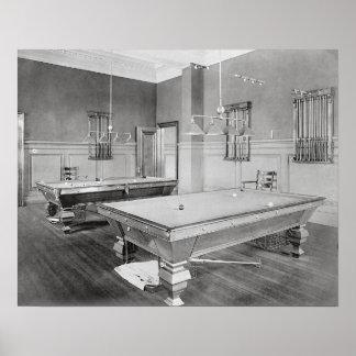 ビリヤード室1901年。 ヴィンテージの写真 ポスター