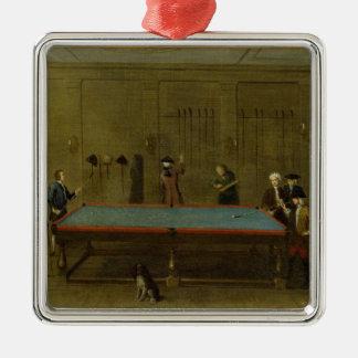 ビリヤード室(キャンバスの油) シルバーカラー正方形オーナメント