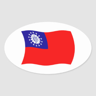 ビルマの旗のステッカー 楕円形シール