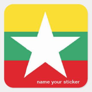ビルマミャンマーの旗のステッカー スクエアシール