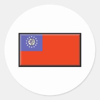 ビルマ(ミャンマー)の旗 ラウンドシール