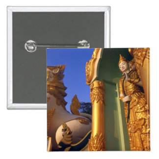 ビルマ(ミャンマー)、ラングーン(ヤンゴン)の寺院 5.1CM 正方形バッジ