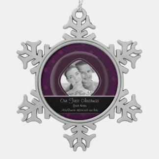 ビロードのダイヤモンド(紫色) (結婚式) スノーフレークピューターオーナメント