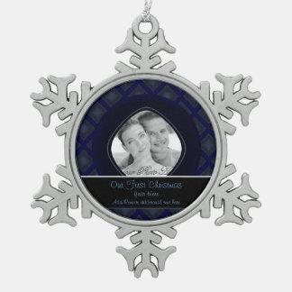 ビロードのダイヤモンド(青い) (結婚式) スノーフレークピューターオーナメント
