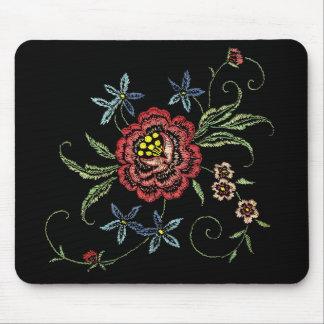 ビロードのマウスパッドのヴィンテージの花の刺繍 マウスパッド