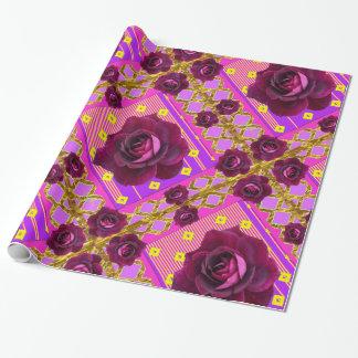ビロードの紫色のバラのジプシーのスタイルパターン ラッピングペーパー