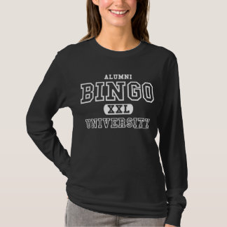 ビンゴ大学卒業生の長い袖の黒 Tシャツ