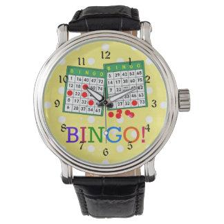 ビンゴ! 黄色の緑および白いビンゴカード 腕時計