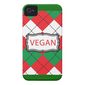 ビーガンのアーガイル柄のな赤いおよび緑 Case-Mate iPhone 4 ケース