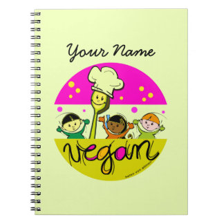 ビーガンのシェフ: 子供の名前をカスタマイズ ノートブック