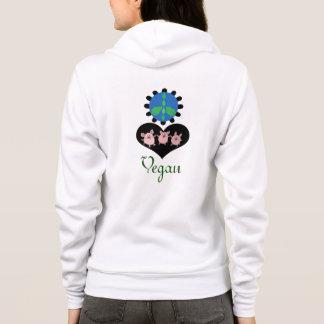 ビーガンのシックな平和愛かわいいブタのフード付きスウェットシャツ パーカ