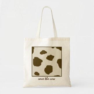 ビーガンの保存牛ブラウンの皮の点 トートバッグ