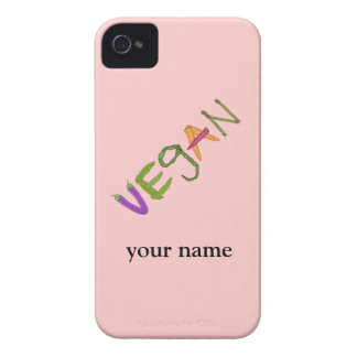 ビーガンの名前入りな野菜恋人のブラックベリー Case-Mate iPhone 4 ケース