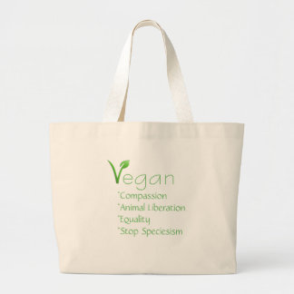 ビーガンの戦闘状況表示板の買い物袋の再使用可能なVeganism ラージトートバッグ