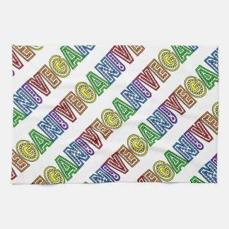 ビーガンの虹のロゴのふきん キッチンタオル