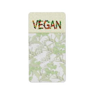 ビーガンの野菜 ラベル