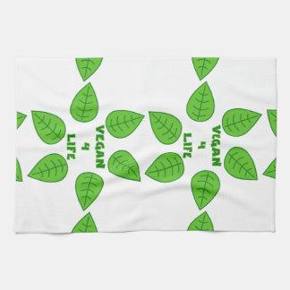 ビーガン4つの生命緑の葉のふきん キッチンタオル