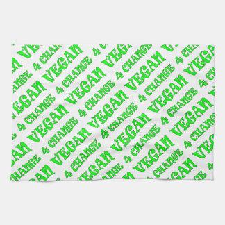 ビーガン4の変更の緑の文字のふきん キッチンタオル