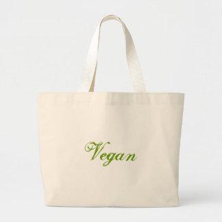 ビーガン。 緑。 スローガン。 カスタム ラージトートバッグ