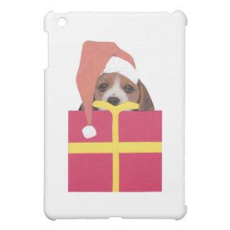 ビーグル犬のサンタの帽子のギフト用の箱 iPad MINIケース
