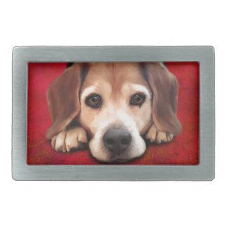 ビーグル犬のファインアート犬の芸術の絵画 長方形ベルトバックル