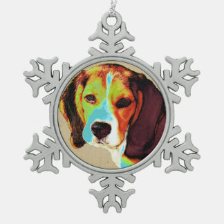 ビーグル犬のポップアート スノーフレークピューターオーナメント