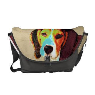 ビーグル犬のポップアート メッセンジャーバッグ