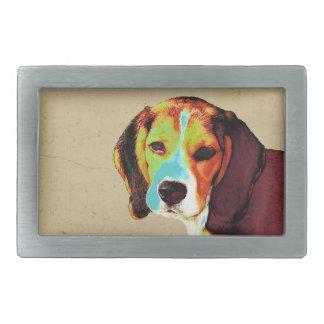 ビーグル犬のポップアート 長方形ベルトバックル