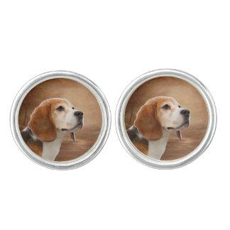 ビーグル犬の円形のカフスボタンは、めっきされて銀を着せます カフリンク