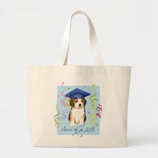 ビーグル犬の卒業生 ラージトートバッグ