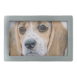 ビーグル犬の子犬 長方形ベルトバックル