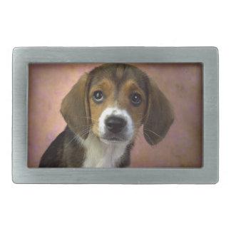 ビーグル犬の小犬 長方形ベルトバックル