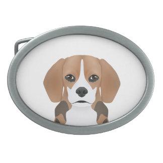 ビーグル犬の漫画 卵形バックル