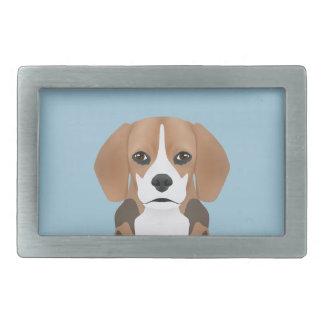ビーグル犬の漫画 長方形ベルトバックル