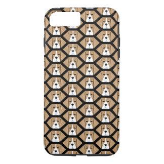 ビーグル犬の猟犬の蜜蜂の巣パターンiPhone 7のプラスの場合 iPhone 8 Plus/7 Plusケース
