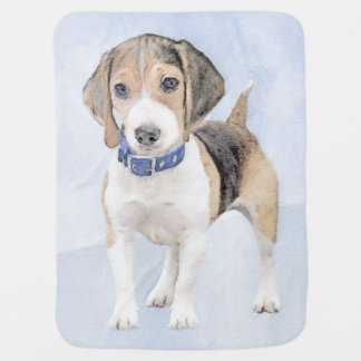 ビーグル犬の絵画-かわいい元の犬の芸術 ベビー ブランケット