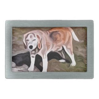 ビーグル犬の絵画 長方形ベルトバックル