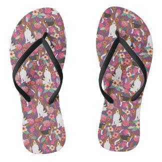 ビーグル犬の花の靴-かわいいビーグル犬の花 ビーチサンダル