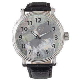 ビーグル犬の青いカチカチの子犬の夢みる人の腕時計 腕時計